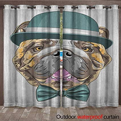 b34ca970f04 Amazon.com   English Bulldog Indoor Outdoor Curtain Dog in a Hat and ...