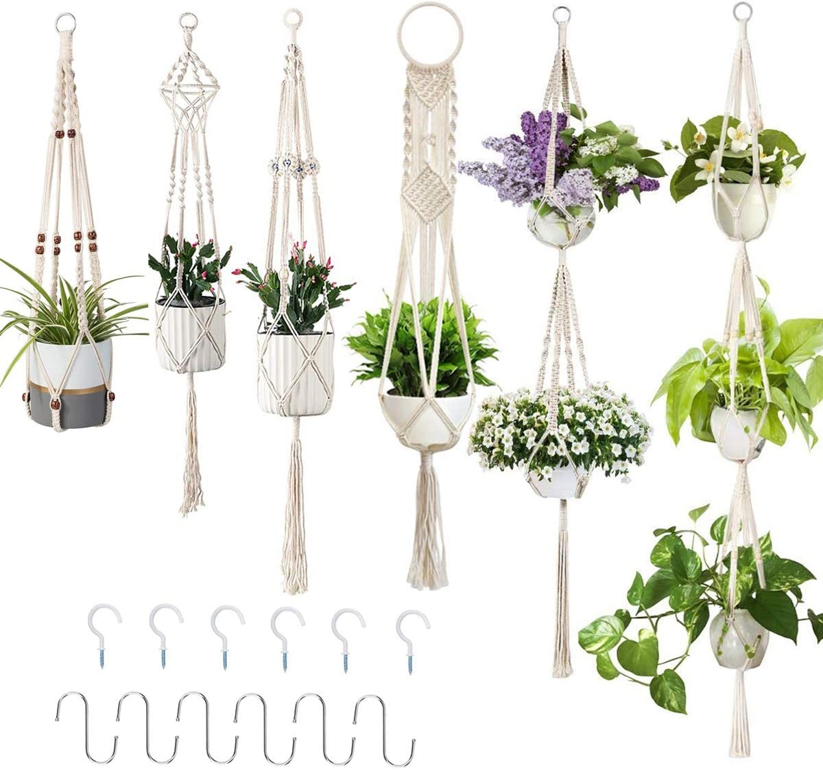 Macrame Plant Hanger, Yatuela Wall Hanging Plant Stand Handmade Cotton Rope Flower Pot Basket Net Holder for Indoor Outdoor Plants Boho Decoration with 12pcs Hooks, 6 Sizes in Different Designs, White