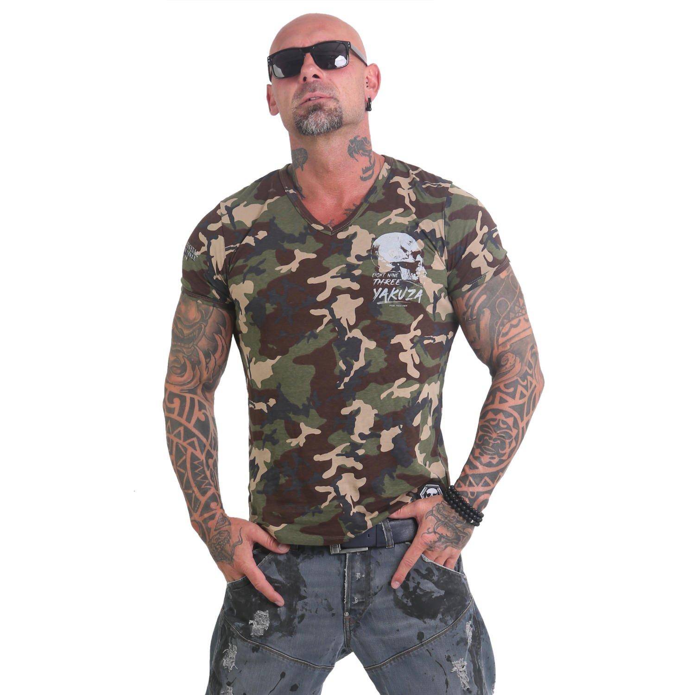 Yakuza Herren Script Skull V-Neck V-Neck V-Neck T-Shirt B07B9DWSVG T-Shirts Der neueste Stil 9d6265