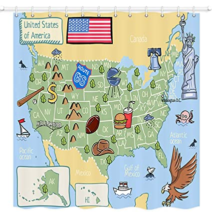 NYMB Wanderlust USA Map for Children and Kids Wallpaper Shower Curtains,  Cartoon Map of United States of America,Fabric Shower Curtain, Bathroom ...