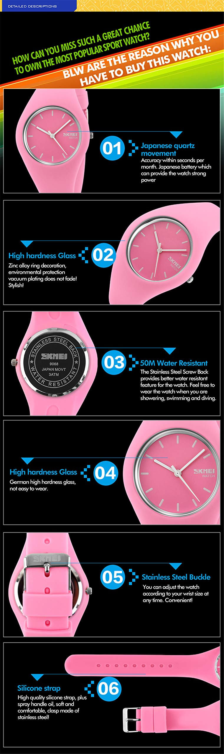 Skmei Fashion Trends Korean Version of The Silica Gel Quartz Ultra-Thin fine Gift Watches(12 Styles) (Rose red) by SKMEI (Image #5)