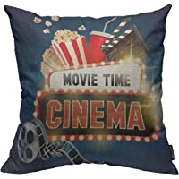 Mugod Cinema Movie Poster Decoration Throw Pillow Cushion Covers Popcorn,Filmstrip,Clapboard,Tickets and Movie Time…