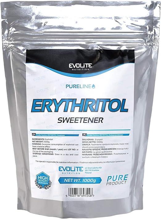 Evolite Nutrition - 100% edulcorante natural de eritritol - 1000 g - Polvo de azúcar glas con cero calorías.