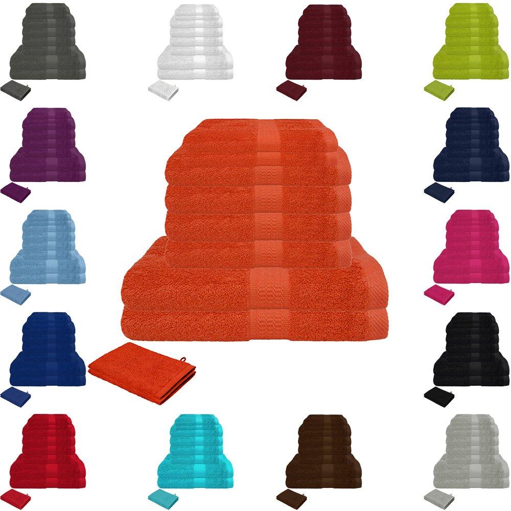 10er Frottier Handtuch Set 4x Handtücher, 2x Duschtücher, 2x Gästetücher, 2x Waschhandschuhe 100% Baumwolle Anthrazit 2x Duschtücher 2x Gästetücher Falco