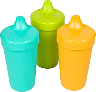 product image for RE-PLAY Made in USA 3pk - 10 oz. No Spill Sippy Cups   Aqua, Lime Green, Sunny Yellow   Eco Friendly Heavyweight Recycled Milk Jugs   Virtually Indestructible  BPA Free   Aqua Asst