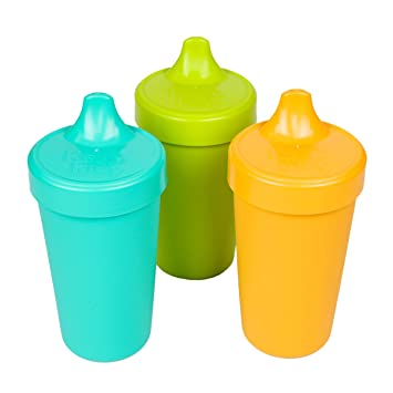 Sky Blue Navy Blue Aqua True Blue Re-Play Made in the USA 3pk No Spill Sippy Cups for Baby Toddler and Child Feeding