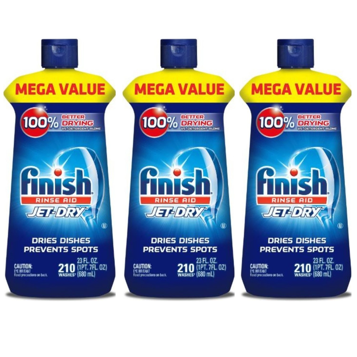Finish Jet-Dry Rinse Aid, 23oz, Dishwasher Rinse Agent & Drying Agent (3-Pack)
