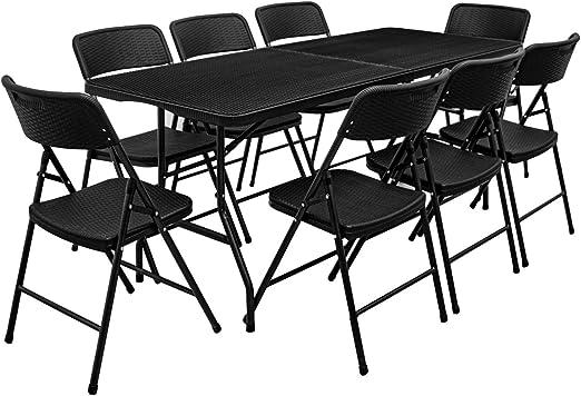 AMANKA Juego de Muebles de Jardín - Mesa 180 cm con 8 Sillas Grupo de Asientos Plegables Look Ratán: Amazon.es: Jardín