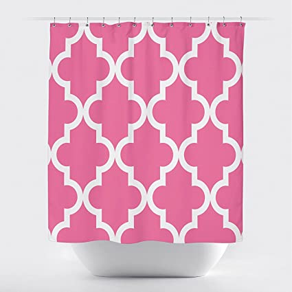 Studios Scalloped Shower CurtainLarge White On Hot Pink By Crystal Emotion