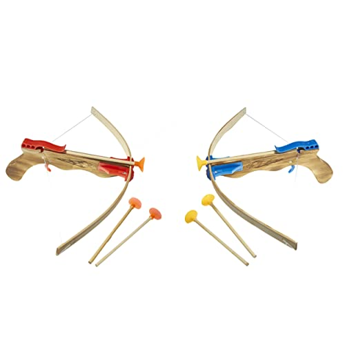 Cmagic® Arbalète en Bois Enfant longueur 50 cm avec 3 flèches ventouses, bleu ou rouge, à partir de 8 ans