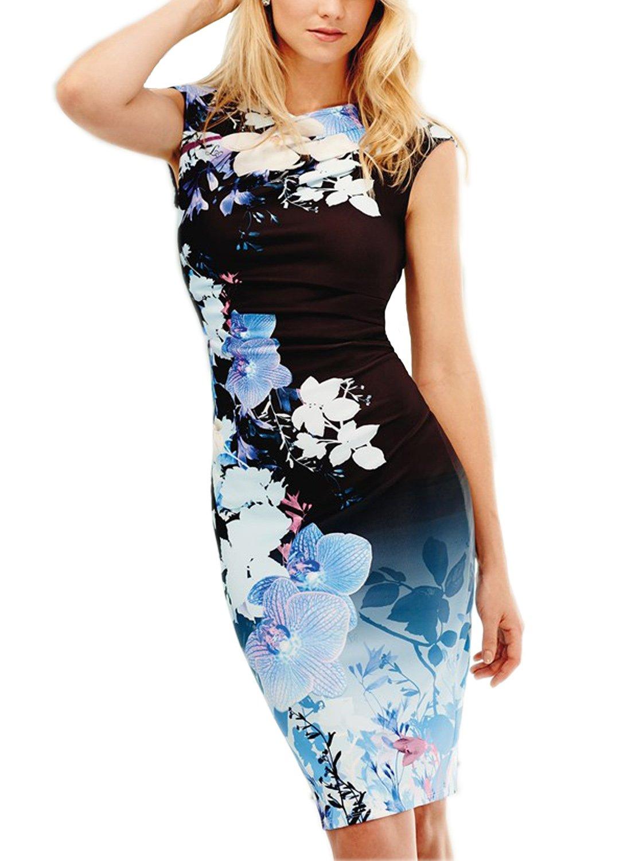 7736c07e182 Fantais Women s V Neck Ruched Elegant Floral Pencil Dresses for Special  Occasions (XL