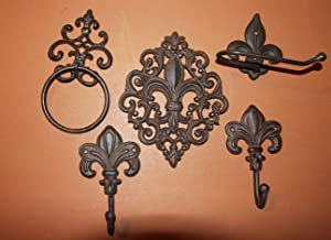 Southern Metal Vintage-Look Cajun Creole Fleur De Lis Bath Accessory Set Toilet Paper Holder Towel Ring Towel Bathrobe Hooks Wall Plaque Bundle 5 Items