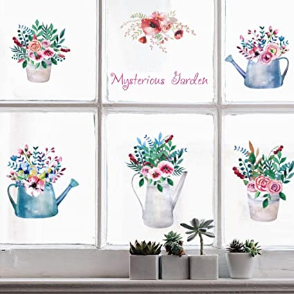 Erthome Diy Mysterious Garden Glass Window Tv Background Wall Decoration Removable Flower Pot Cabinets Bedroom Decor Wall Stickers