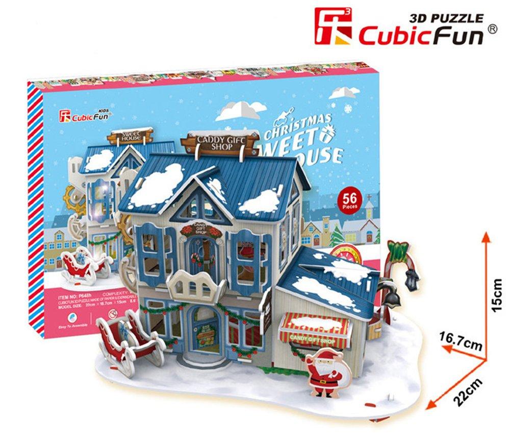 クリスマスホームwith LEDライト3dパズル子モデル紙DIY教育玩具   B07BY9MNFH