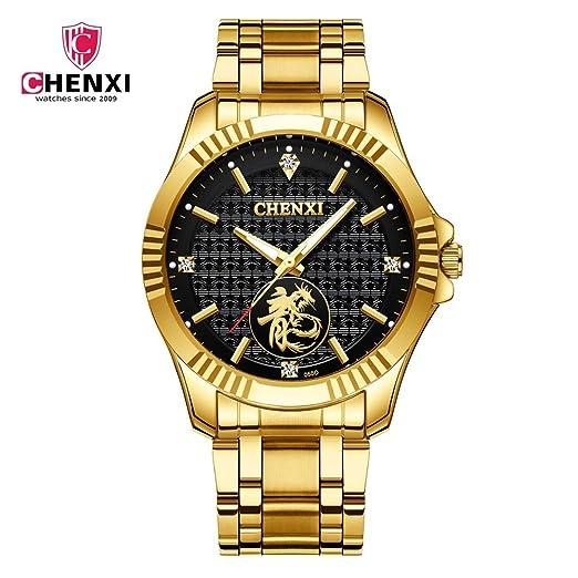 HWCOO Relojes 2018 Nuevo Reloj de los Hombres Reloj Reloj de Cuarzo Resistente al Agua Pareja Mesa mañana 曦 Ver 050D Reloj de Pulsera (Color : 1): ...