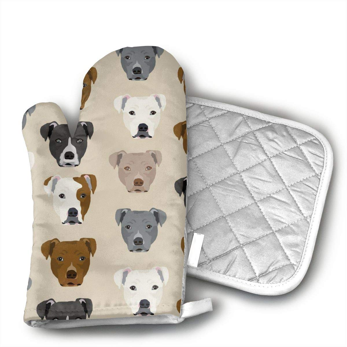 Sjiwqoj8 Pitbull Heads Kitchen Oven Mitts,Oven Mitts and Pot Holders,Heat Resistant with Quilted Cotton Lining,Cooking,Baking,Grilling,Barbecue