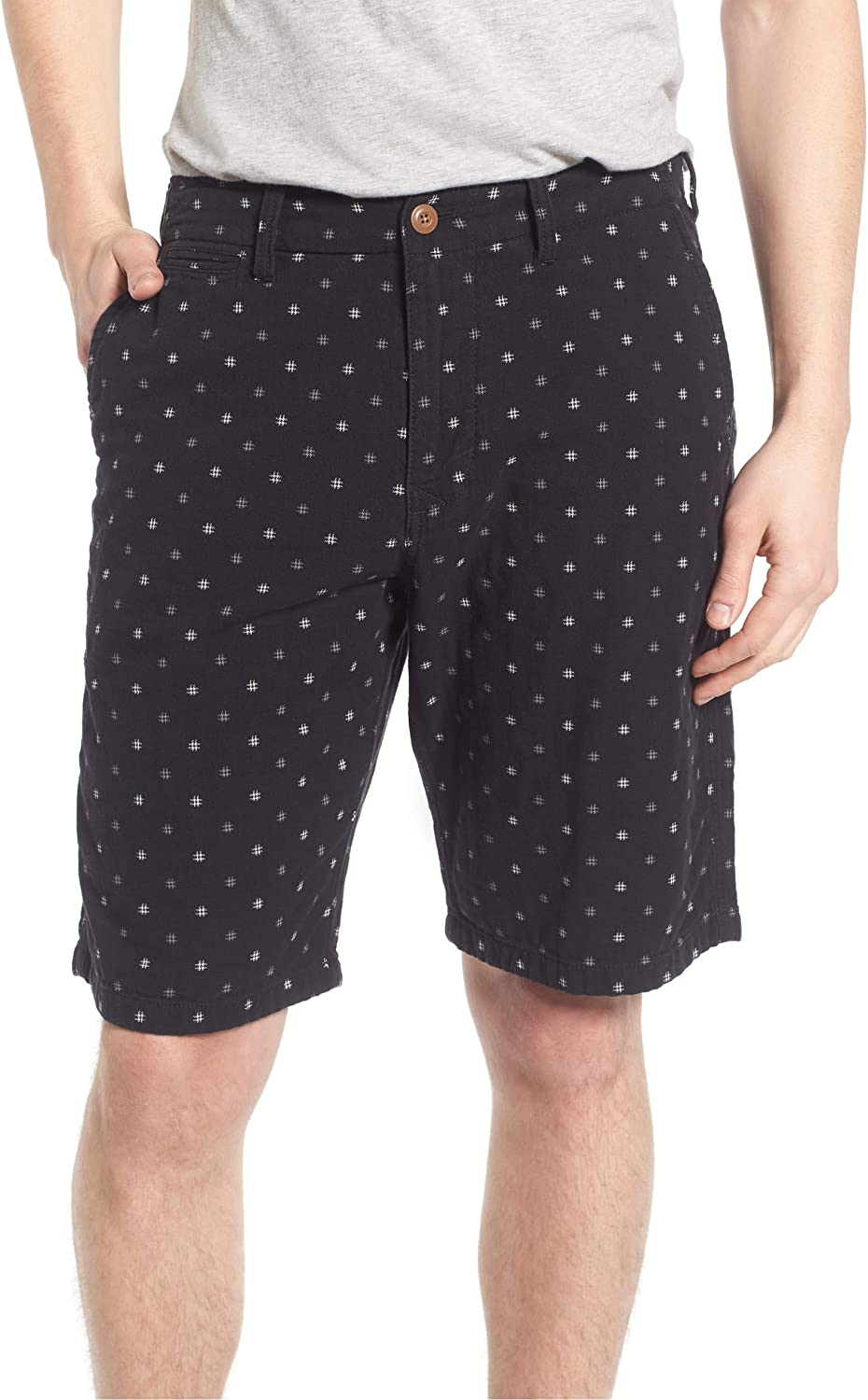Lucky Brand Men's Black Hashtag Flat Front Short