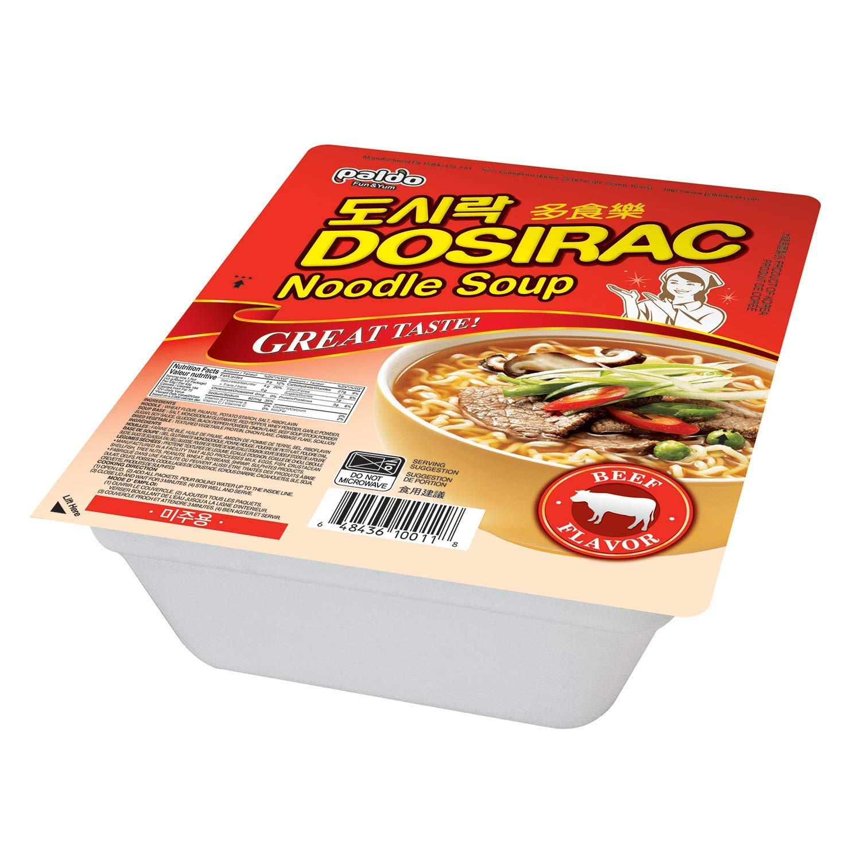 Paldo Fun & Yum Dosirac Beef Noodle Soup Bowl, Pack of 12, Best Oriental Style Korean Ramyun Dosiracmen, Most Loved Korean Noodles, Non-Spicy K-Food, 팔도 도시락면 컵라면 소고기맛 86g (3.04 oz) x 12