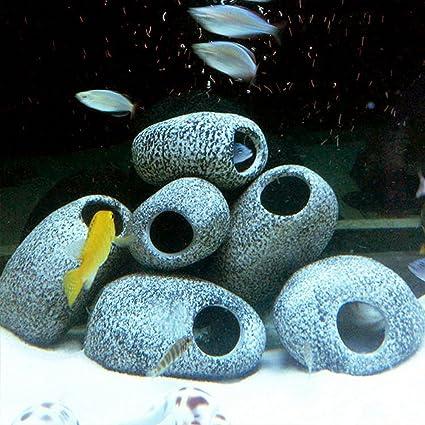 Forfar Acuario agua Piedra cichlid Piedra cerámica Cave Rock Peces de acuario tanque de la charca Decoración del ornamento Cría de camarones: Amazon.es: ...