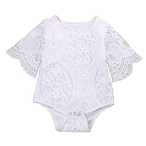 Mikrdoo Newborn Infant Baby Girl Flower White Lace Off Shoulder Romper Jumpsuit Outfit Clothes