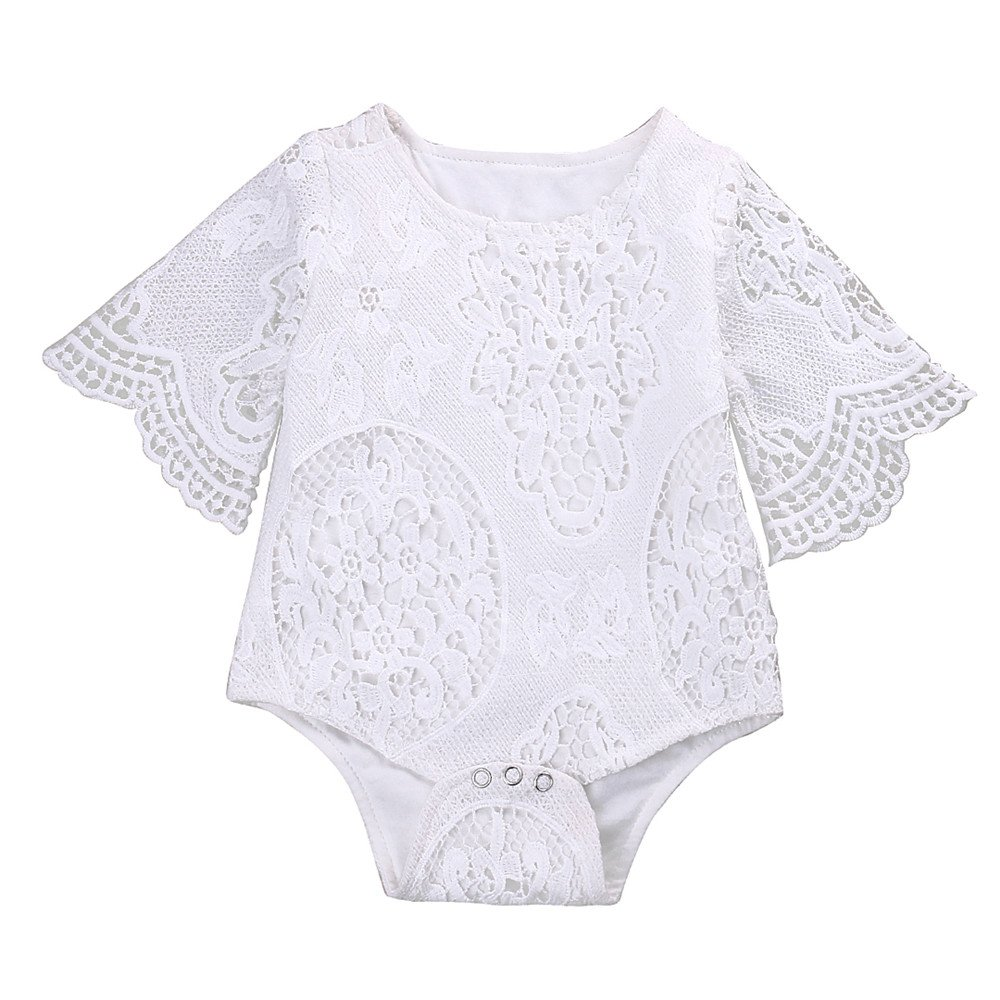 Mikrdoo Newborn Infant Baby Girl Flower White Lace Off Shoulder Romper Jumpsuit Outfit Clothes (6-12 Months, B)