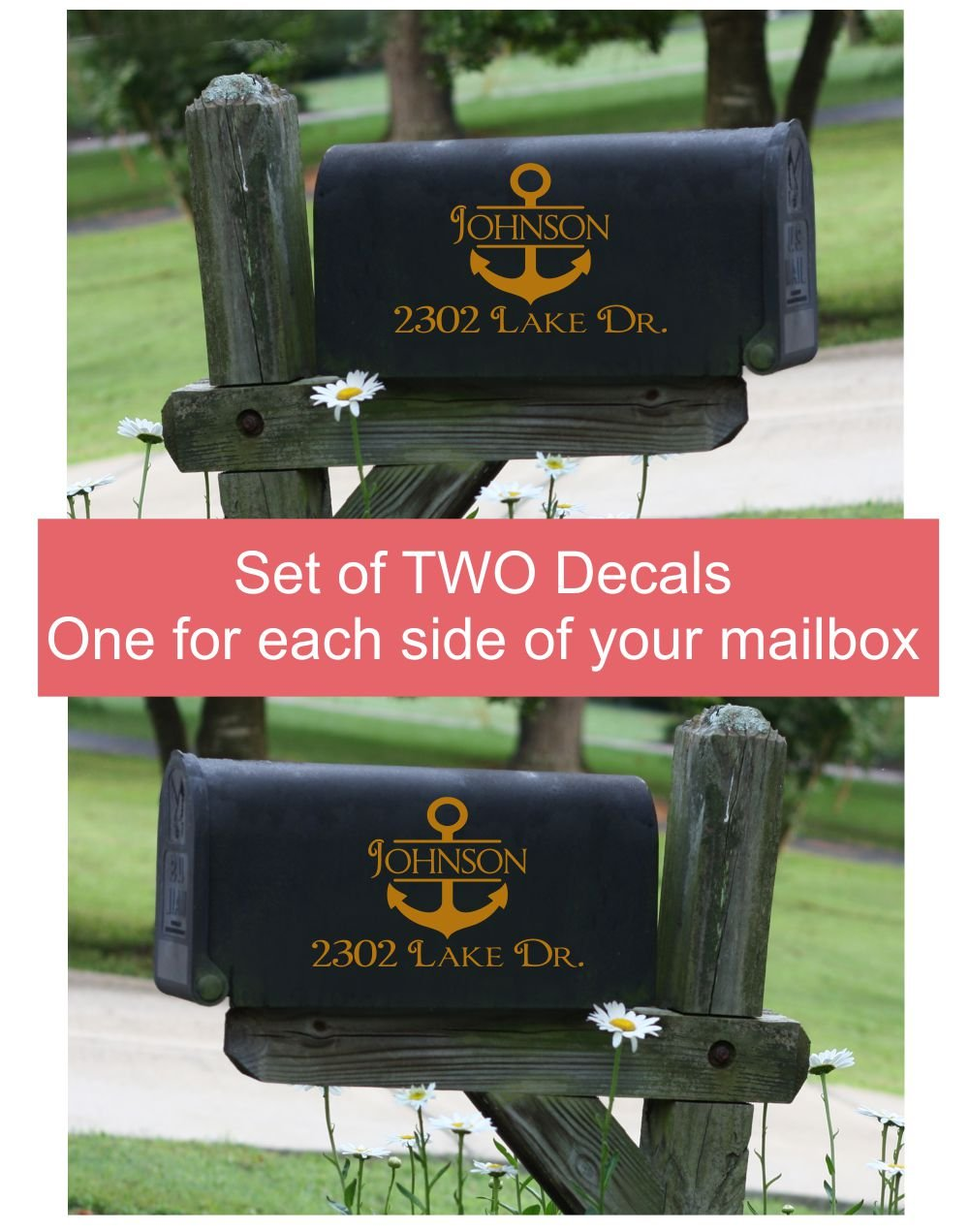 Mailbox Decals Lettering Name Address Personalized Vinyl Anchor Nautical Sticker Art, Set of 2 Jumbo