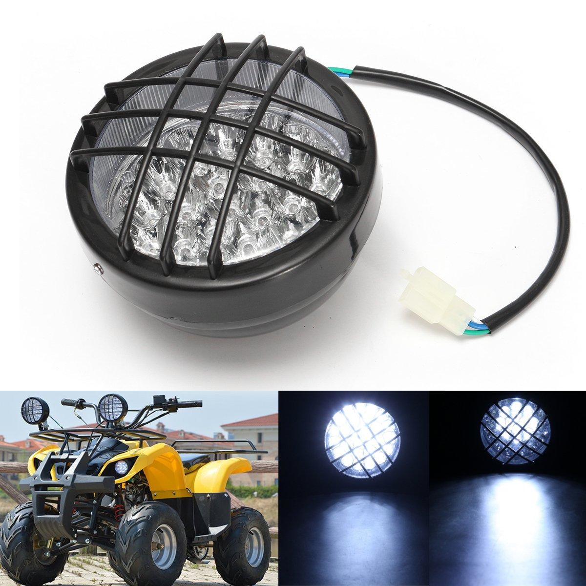 12v front led headlight lamp for atv quad 4 wheeler go kart