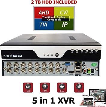 16 Channel H.264 HD 4in1 TVI AHD CVI Analog CCTV Security Surveillance DVR w//2TB
