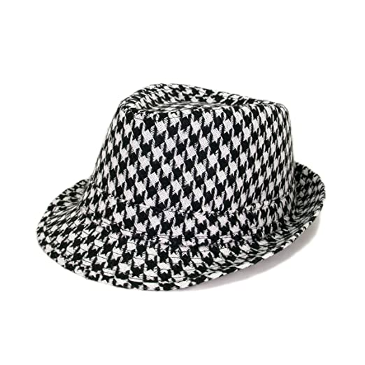 9d4c7b5f7a6fd Unisex Classic Houndstooth Fedora Hat
