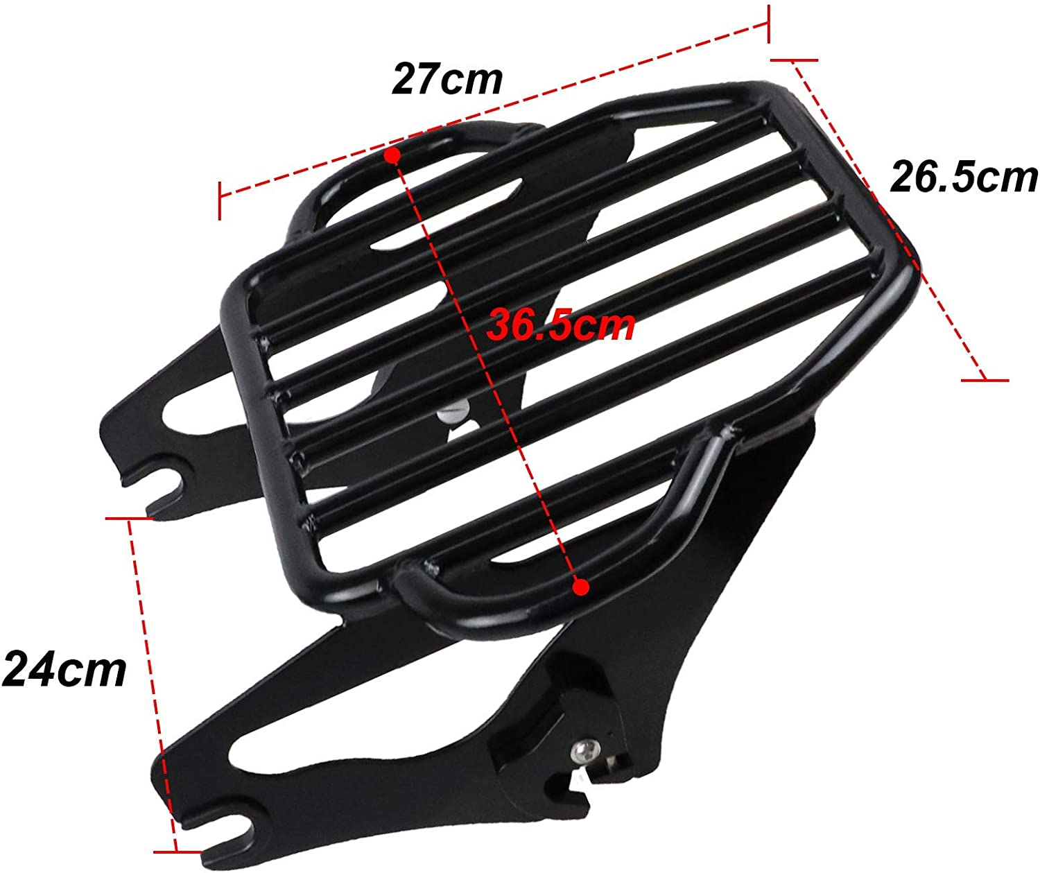 KOLEMO Black Detachable Adjustable Two Up Luggage Rack Mounting Fits For Touring Electra Glide Road King Street Glide Tour Pak 2009-2019
