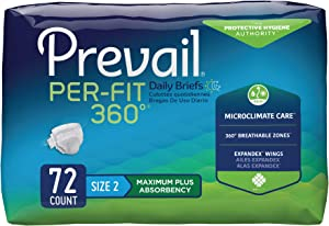 Prevail Per-Fit 360 Protective Underwear, Maximum Plus Absorbency, Size Two, 18 Count (Pack of 4 (72 Count))