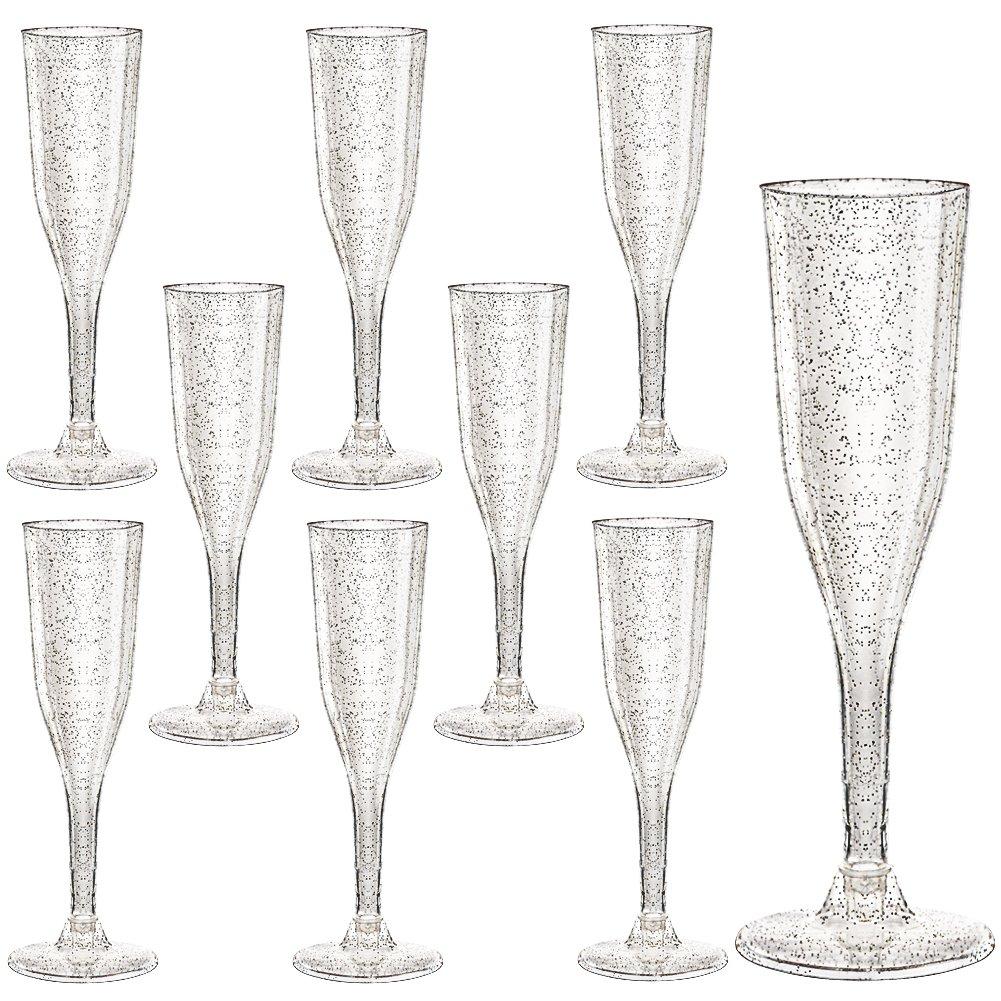 1180a6512e1 Amazon.com: Plastic Champagne Flutes 105 Piece, 5 Oz Plastic Champagne  Glasses Silver Glitter, Premium Disposable Clear Cups Prefect for Wedding  and Party: ...