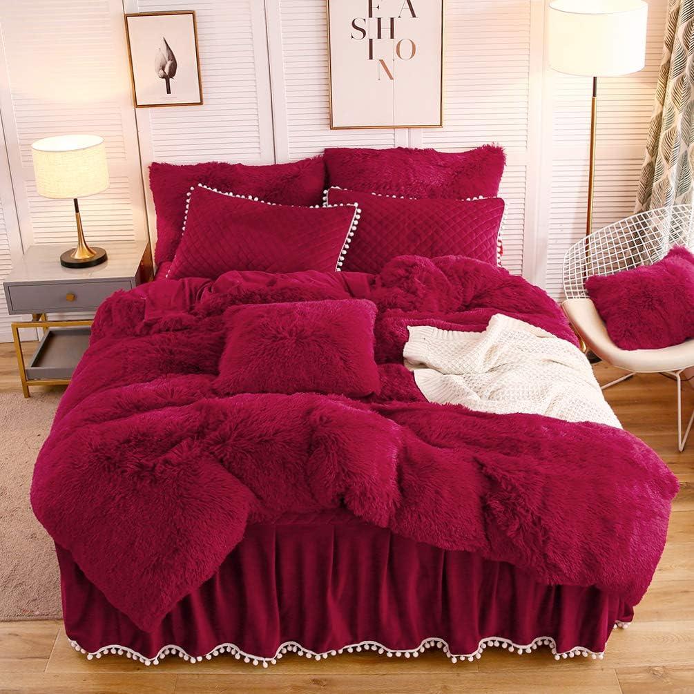 LIFEREVO Luxury Plush Shaggy Duvet Cover Set (1 Faux Fur Duvet Cover + 2 Pompoms Fringe Pillow Shams) Solid, Zipper Closure (King, Burgundy)