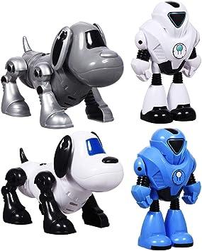 Amazon.es: Robots para niños, juego de 4 – 2 robots de espacio y 2 robots para mascotas. . Cordón situado en la parte posterior del robot para encender el botón frontal. Ideal