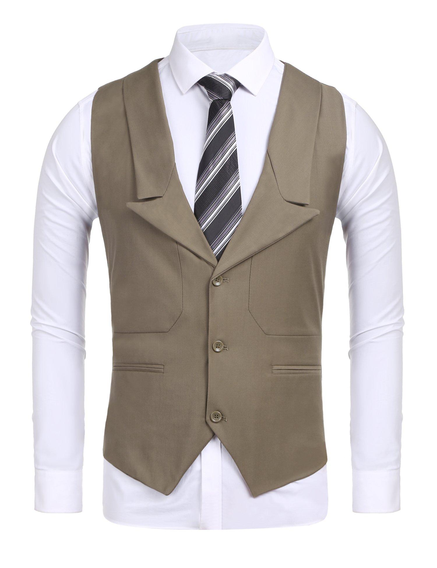 COOFANDY Men's Business Suit Vests Slim Fit 3 Button Vest Waistcoat (Khaki L)