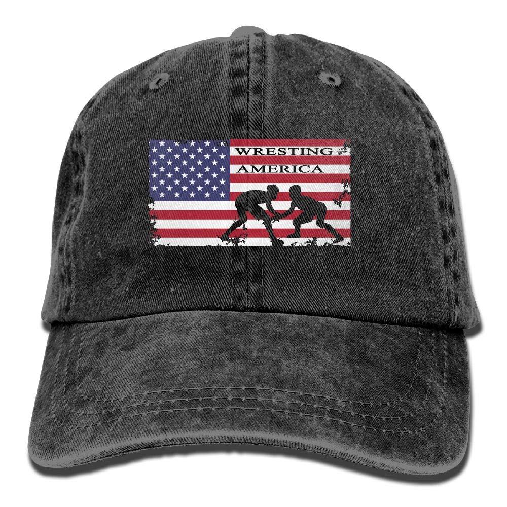WYFQ501 American Flag Wrestling Men's Women's Adjustable Jeans Baseball Hat   Denim Fabric Dad Hats