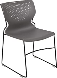 Flash Furniture HERCULES Series 5 Pack 661 lb. Capacity Gray Full Back Stack Chair with Black Powder Coated Frame