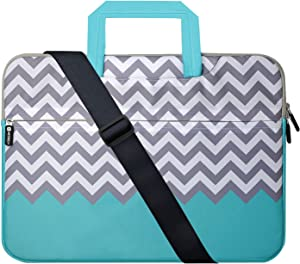 Laptop Case 17.3 inch, HESTECH Laptop Shoulder Bag for Women 17 inch, Computer Cases Compatible for Laptop 16-17.3 HP Lenovo Dell ASUS (Chevron)