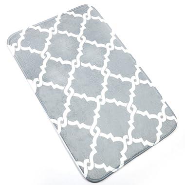 U'Artlines Bath Mat, Comfort Extra Thick Memory Foam Bath Mat Set Bathroom Mats Shower Rugs with Sbr Back and Flannel Surface (19.69x31.5, Grey)