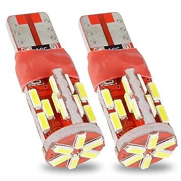 Safego 2x T10 W5W 194 168 30SMD 4014 LED Blanco Bombilla de Luz de Coche Interior Luces de Circulación Diurna 12V 6000K: Amazon.es: Coche y moto