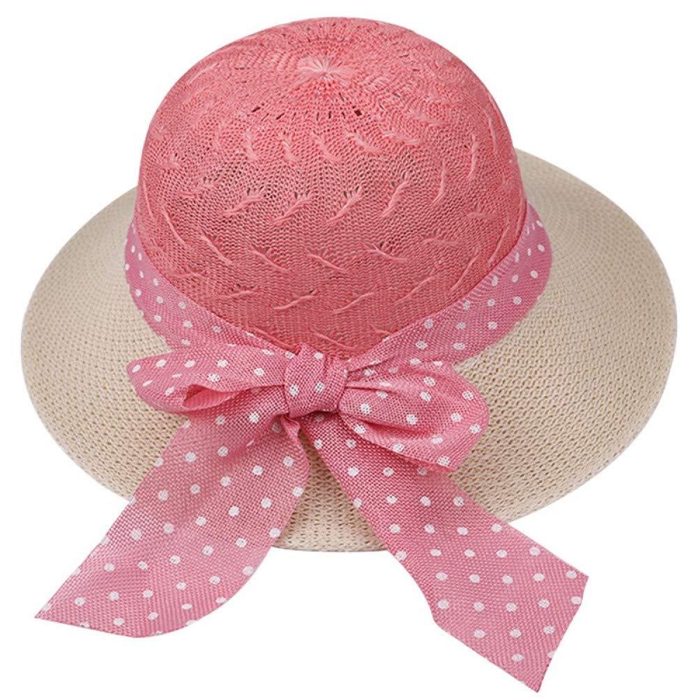 CGXBZA Cappelli Estivi per Cappelli da Sole A Tesa Larga in Rafia per Le Donne con Cappellino in Pizzo A Costine