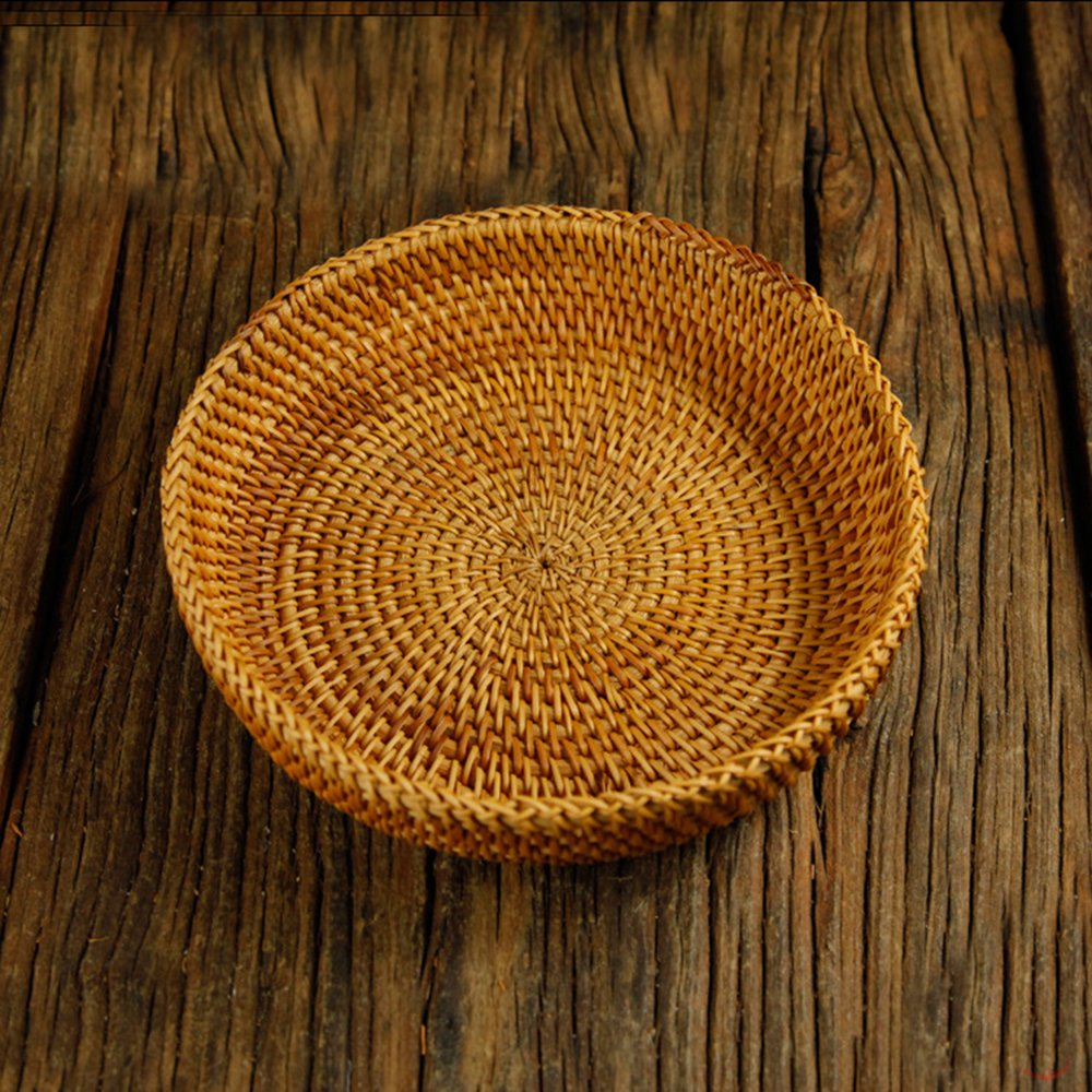 100% Handmade Weaved Storage Bin Fruit Basket Rattan Hamper Wicker Tray Weaving Rack Holder Dining Room Small Container Box Natural Decor Serving Handcrafted Bowl Organizer Serving Snack Dish Display by yaku (Image #6)