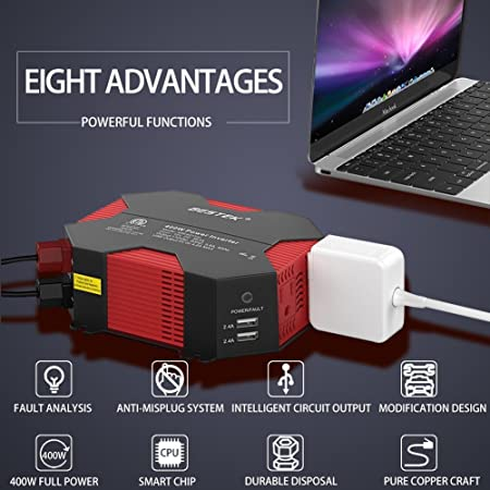 BESTEK 400W 500W Car Power Inverter DC 12V to AC 110V Car Inverter with 4 USB Charging Ports, Power Converter with 2 AC Outlets and Car Battery Clip Car Charger, Car Adapter Upgrade Version