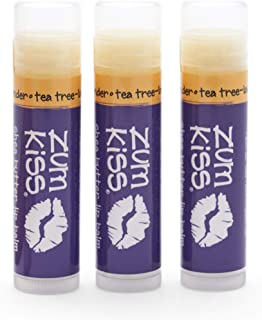 product image for Zum Tea Tree-Lavender Kiss Stick (Pack of 3) with Certified Organic Sunflower Seed Oil, Beeswax, Shea Butter, Pure Essential Oils, Candelila Wax, Vitamin E and Honey, 0.15 oz