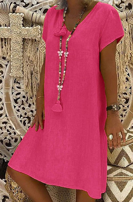 Mujer Vestido Falda Cuello en V Manga Corta Vestido de Camiseta Fiesta Suelto Casual T/única Vestido Talla Grandes Playa Verano Lino Vestidos Color S/ólido S-5XL