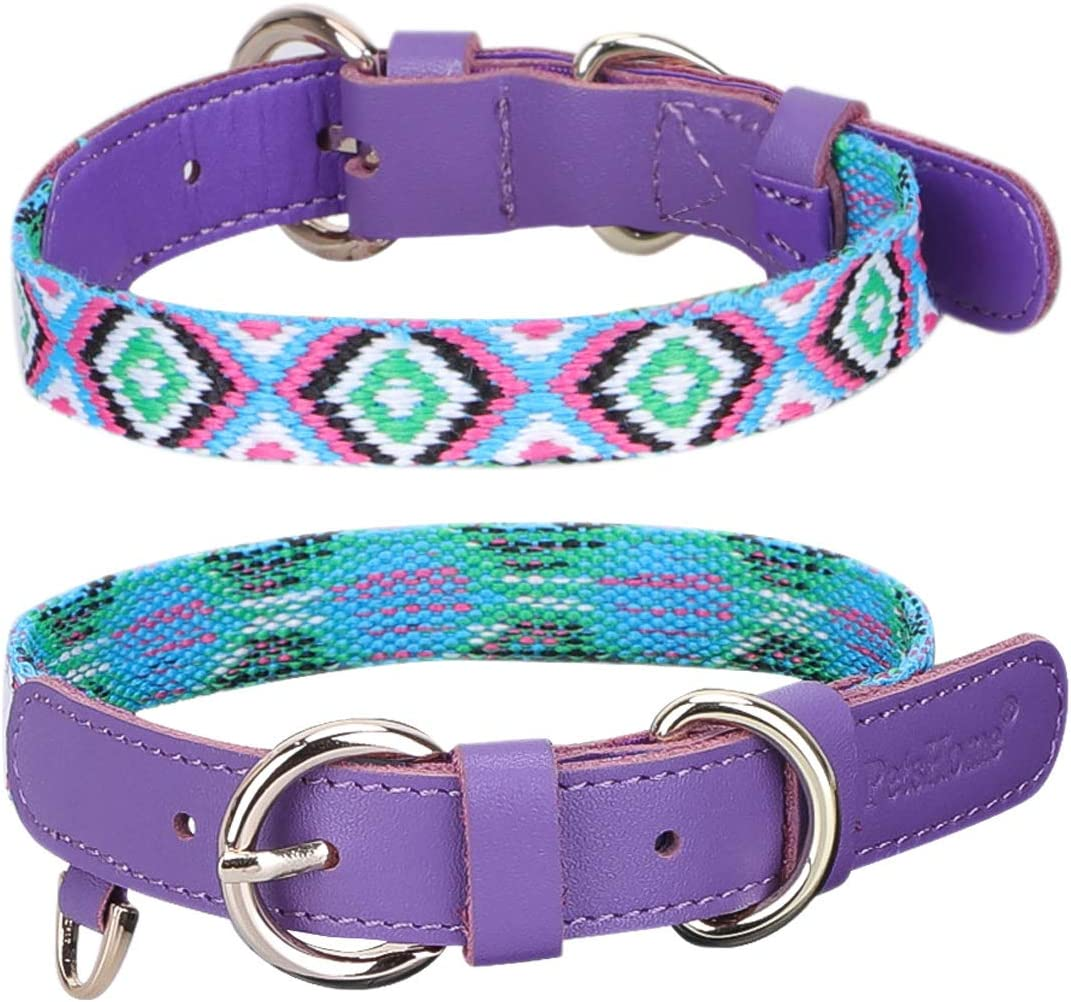 Cat Collar PetsHome Dog Collar Pattern Printing PU Leather with Bowtie and Pendant Adjustable Collars for Small Dog and Cat Extra Small Black