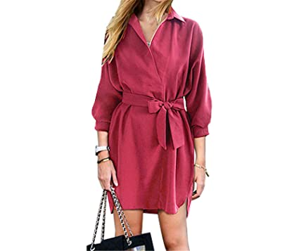 Sexy Fashion Autumn Women Shirt Dress Green Belt V Neck Long Sleeve Vintage Short Mini Woman