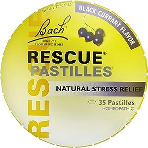 RESCUE PASTILLES, Homeopathic Stress Relief, Natural Black Currant Flavor - 35 Pastilles