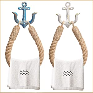 LMHEJING 2 Packs Nautical Rope Towel Ring, Rustic-Industrial Wall-Mounted Beach Themed Rope Towel Ring with Metal Hook for Bathroom Decor (Blue+White)