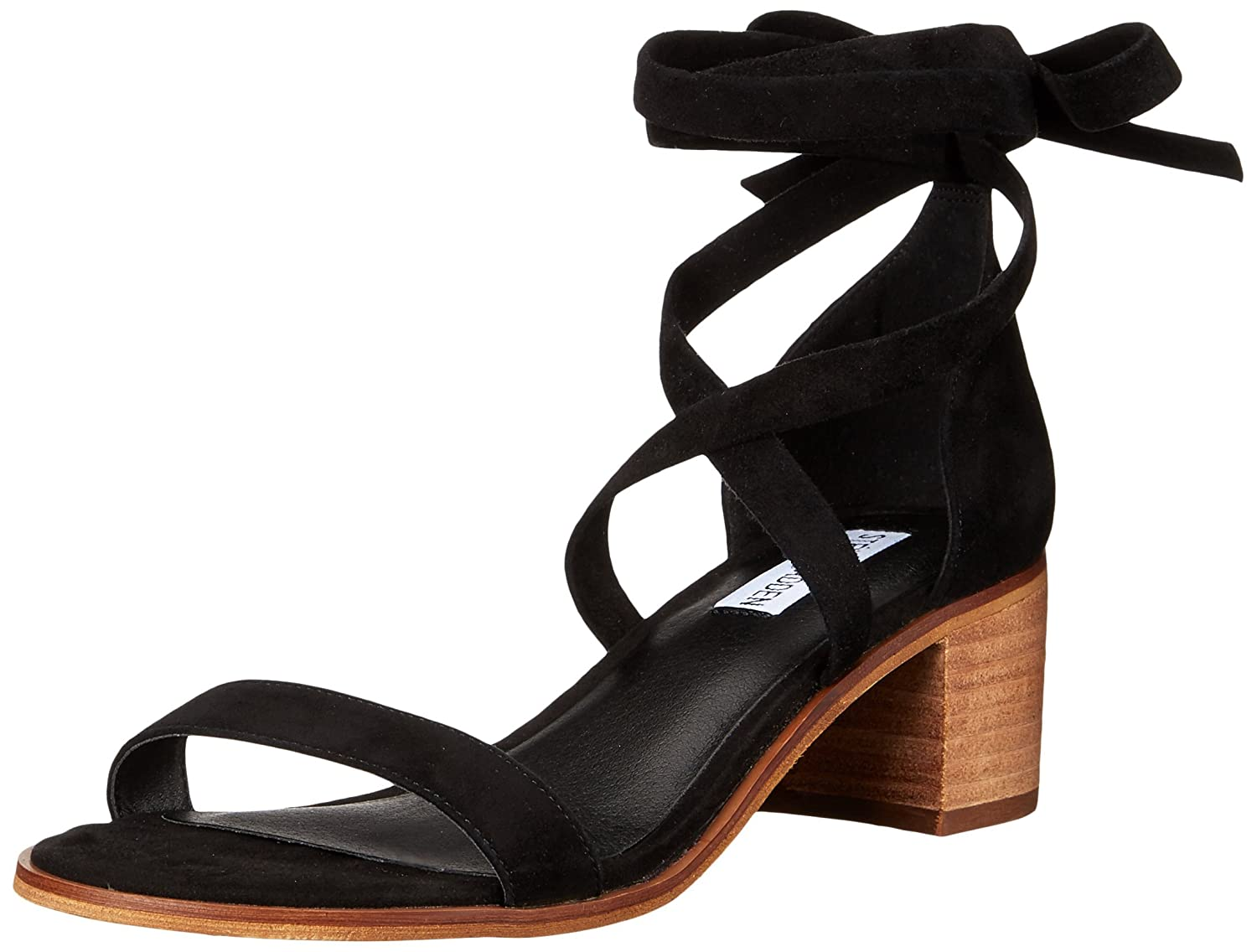 Amazon.com | Steve Madden Women's Rizzaa Heeled Sandal, Black Suede, 8 M US  | Sandals